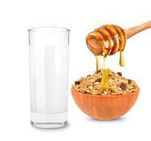 Milk and cereal with honey Royalty Free Stock Photos