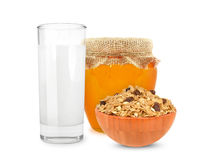 milk and cereal with honey Royalty Free Stock Photography
