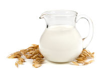 Milk and cereal isolated on whate background Royalty Free Stock Images