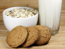 Milk, cereal and oatmeal cookies Royalty Free Stock Photos