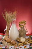 Milk, cereals, grains, butter and eggs. Royalty Free Stock Images