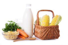 Milk, cereals and some vegetables isolated Stock Images