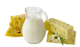 Milk and cheese Royalty Free Stock Images