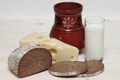 Milk, cheese, bread Royalty Free Stock Image