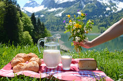 Milk, cheese and bread served at a Stock Photos