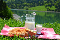 Milk, cheese and bread. Served at a picnic in an Alpine meadow, Switzerland Stock Images