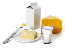Milk, cheese and butter  on white background Royalty Free Stock Photography