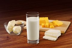 Milk and Cheese Royalty Free Stock Photography