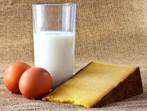 Milk, Cheese and Fresh Brown Eggs Royalty Free Stock Images