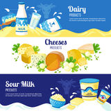 Milk And Cheese Horizontal Banners Stock Photography