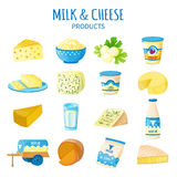 Milk And Cheese Icons Set Stock Photo