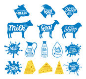 Milk and Cheese Labels, Icons and Design Elements Stock Photography