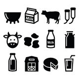Milk, cheese production, cow  icons set Royalty Free Stock Photos