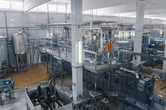 Milk and cheese production plant stock photo