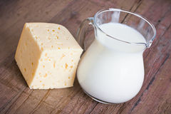Milk and cheese Stock Photo
