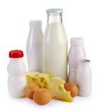 Milk cheese yogurt and eggs Stock Images