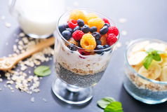 Milk with chia seeds and berries Stock Image