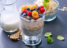 Milk with chia seeds and berries Royalty Free Stock Images