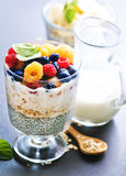 Milk with chia seeds and berries Stock Photo