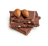 Milk chocolate with almonds Royalty Free Stock Photography