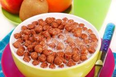 Milk with chocolate balls crisp Stock Photos