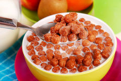 Milk with chocolate balls crisp Royalty Free Stock Images