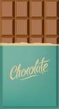 Milk chocolate bar. Calligraphic vintage Chocolate poster design. Vector illustration. Stock Images