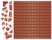 Milk chocolate bar with crushed pieces Royalty Free Stock Images