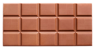 Milk chocolate bar isolated on white Stock Photography