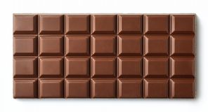 Milk chocolate bar isolated on white background. From top view Stock Photography
