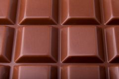 Milk chocolate bar macro very close view, from above royalty free stock images