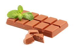 Milk chocolate bar with mint. Stock Image