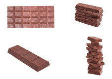 Milk chocolate bar set Stock Photos