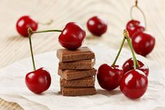 Milk chocolate bar with sweet cherry Stock Photo