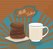 Milk and chocolate cakes - vector drawing Royalty Free Stock Images
