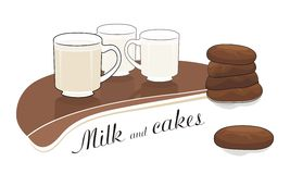 Milk and chocolate cakes - vector drawing Stock Image