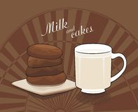 Milk and chocolate cakes - vector drawing Royalty Free Stock Photo