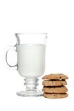 Milk And Chocolate Chip Cookies Royalty Free Stock Photos