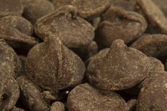 Milk chocolate chips close up Royalty Free Stock Photo