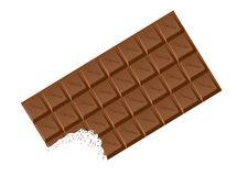 Milk Chocolate Chocolate Bar With Bite. A typical bar of white Chocolate as a background Royalty Free Stock Photography