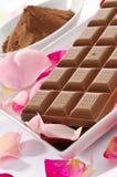 Milk chocolate and chocolate powder Royalty Free Stock Image