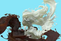 Milk and chocolate coffee male and female 3d sculpture stock photo