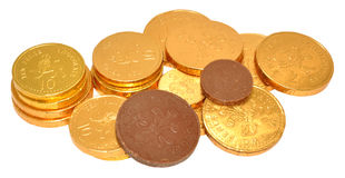 Milk Chocolate Coins Stock Photography