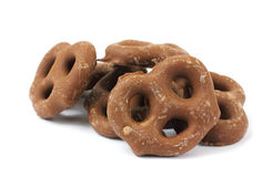 Milk chocolate covered pretzels Stock Image