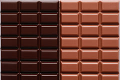 Milk chocolate and dark chocolate Stock Images