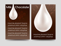 Milk chocolate drop brochure design. Milk chocolate brochure flyer template design. Vector illustration Stock Photography