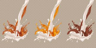 Milk and chocolate flow. Set of splashes of chocolate and caramel into milk, yogurt, white chocolate. Milk and dark chocolate, coffee, cocoa, caramel. Vector Royalty Free Stock Photography