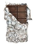 Milk chocolate in foil Stock Photos