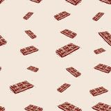 Milk chocolate Hand drawn sketch on pink background. seamless pattern vector Stock Photos