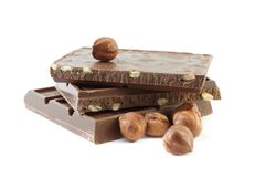 Milk chocolate with hazelnuts Royalty Free Stock Photography